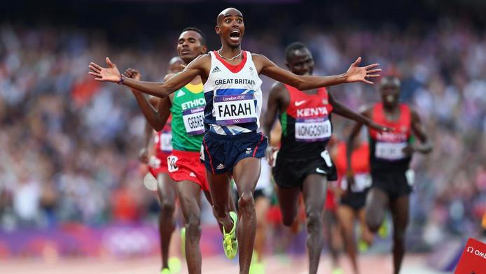 Mo Farah na zijn zege op de Spelen in Londen.