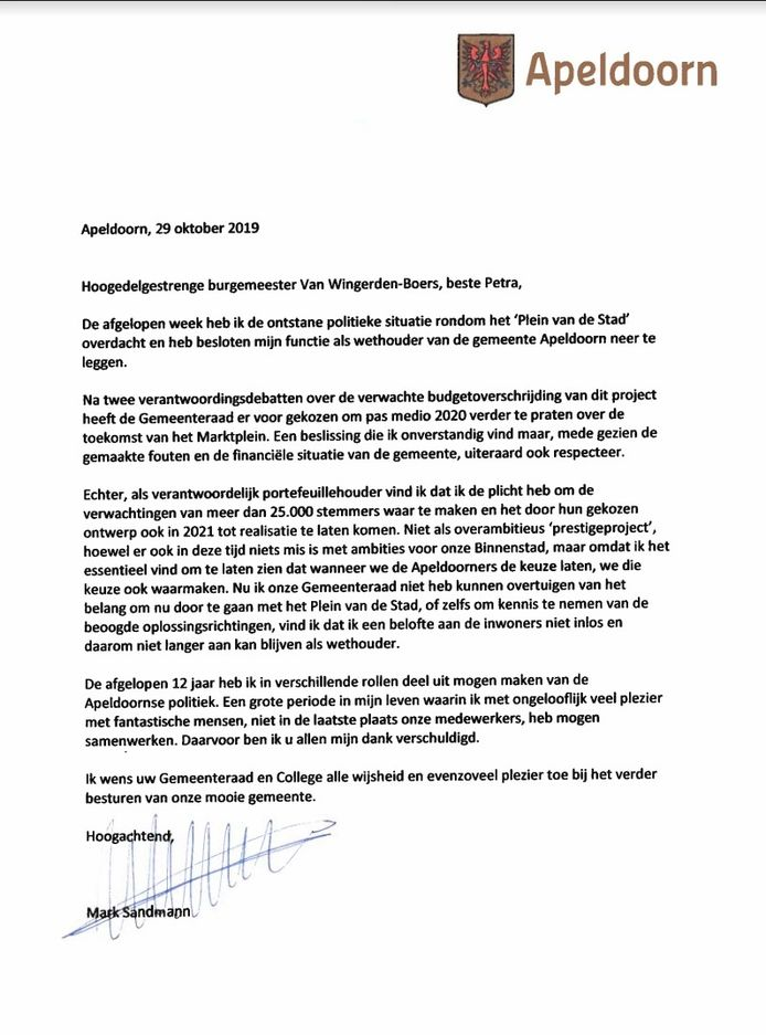 Met deze brief kondigt Mark Sandmann zijn vertrek aan.