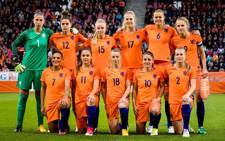 Teamfoto van de oranjevrouwen tijdens een oefenduel tussen Nederland en Frankrijk ter voorbereiding op WEURO 2017 Beeld ANP