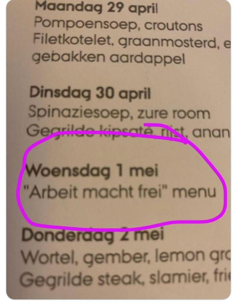 Om 10u.00 kon men het 'Arbeit macht Frei'- menu nog bestellen in de Hasseltse Orangerie
