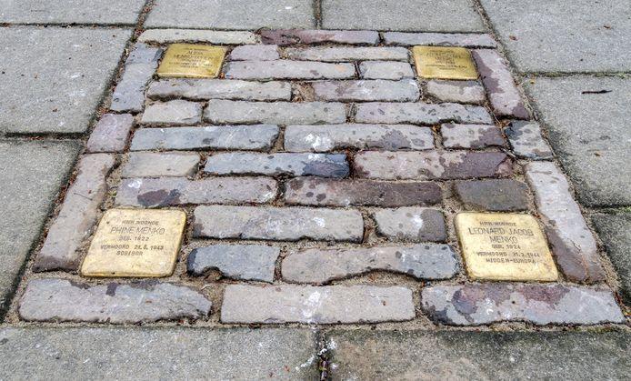 Vier Stolpersteine aan de Annastraat in Hengelo.