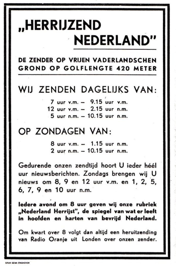 Advertentie, zoals die in 1944 verscheen in de dagbladen. archief Kees Nijsen