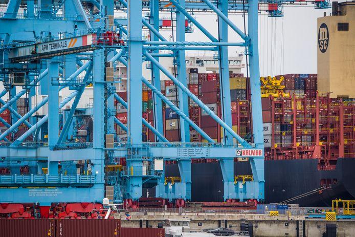 De MSC Rifaya in de Rotterdamse haven. Dit was het eerste schip uit de Suezfile.