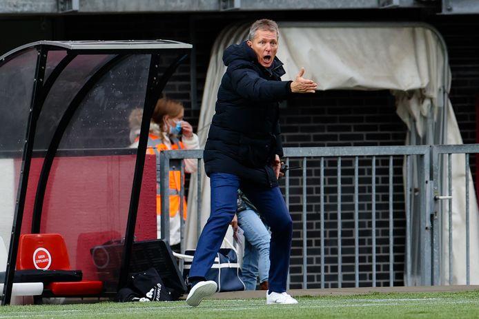 Wormuth in actie tegen Sparta. Na dat duel werd hij positief getest op corona en miste de duels tegen Telstar en FC Utrecht.