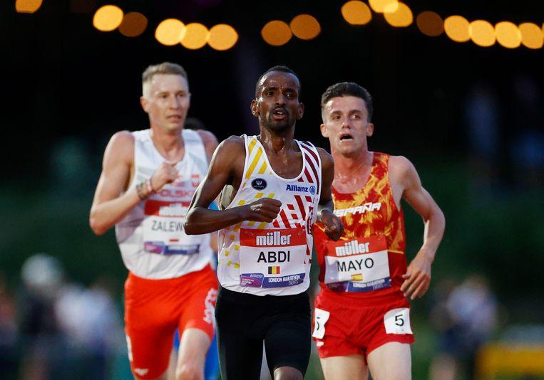 Bashir Abdi loopt in Birmingham tijdens de European Cup. Beeld Action Images via Reuters