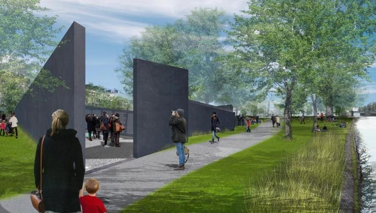 Het ontwerp van Daniel Liebeskind voor een namenmonument in het Wertheimpark in Amsterdam. Beeld .