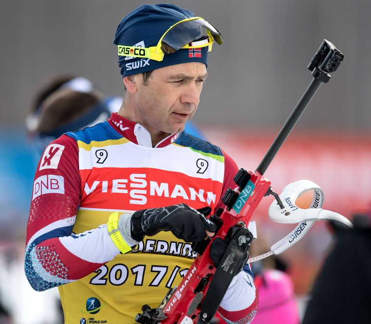 Björndalen (bijna 44)  in actie in het Zuid-Duitse Ruhpolding. Beeld AFP