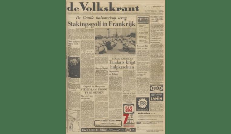 Voorpagina Volkskrant 20 mei 1968 Beeld -