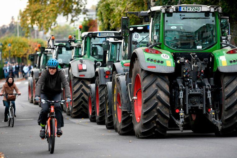 Boerenprotest in de Duitse stad Bonn op 22 oktober 2019. Beeld AFP