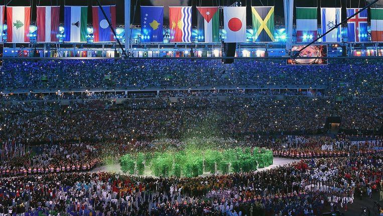 Beeld van de openingsceremonie in Rio de Janeiro. Beeld Photo News