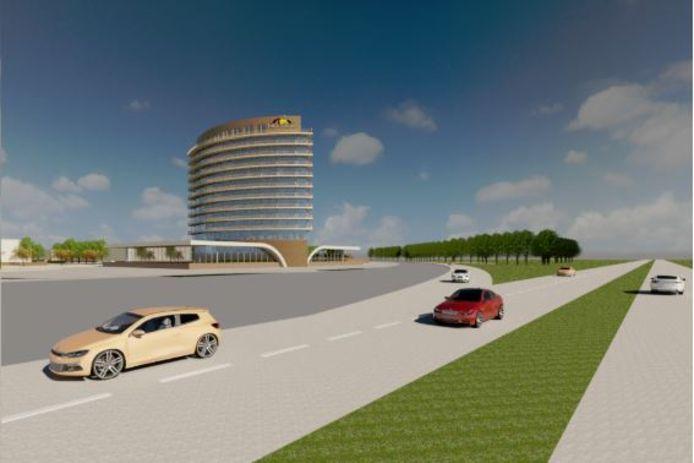 Automobilisten op de snelweg krijgen dit beeld van het nieuwe Van der Valk Hotel Hattemerbroek op het Hattemse deel van bedrijvenpark H2O.