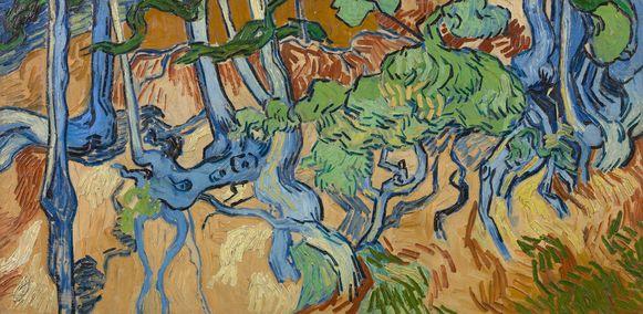 Het schilderij 'boomwortels' van Carie van de Kloot.