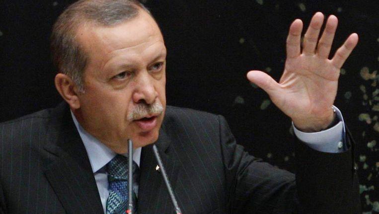 Erdogan, vandaag tijdens een speech in het hoofdkantoor van zijn partij in Istanbul. Beeld AFP
