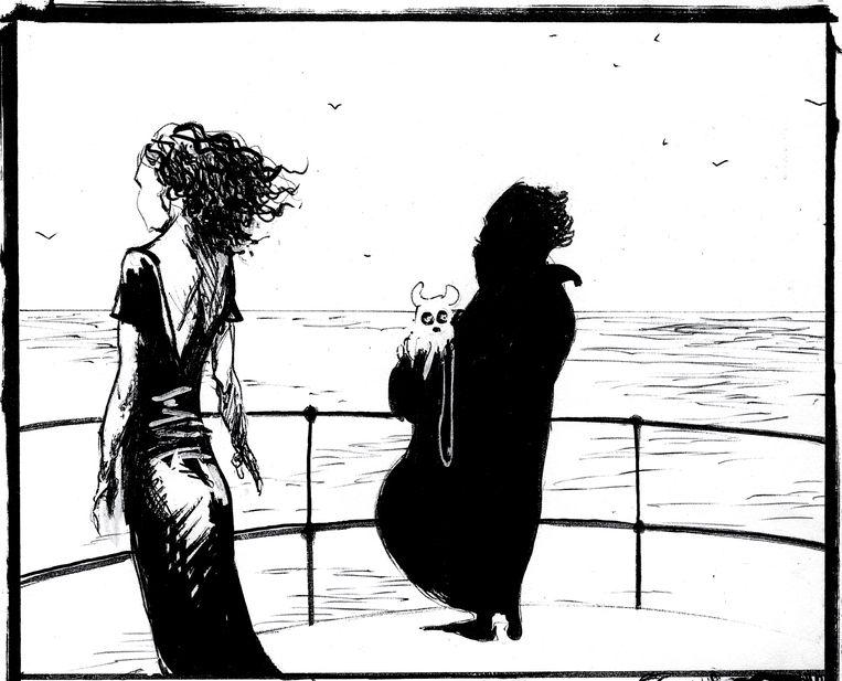 Verschillende tekenaars gingen aan de slag in hetzelfde stripalbum. Deze tekening is van Ibrahim R. Ineke. Beeld