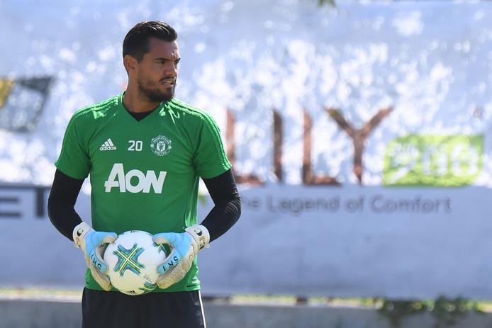 Sergio Romero in Los Angeles, waar Manchester United momenteel op trainingskamp is.