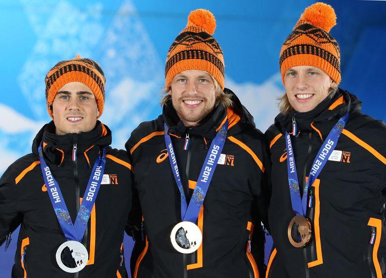 Smeekens, Michel Mulder en Ronald Mulder, het podium op de 500 meter Beeld afp