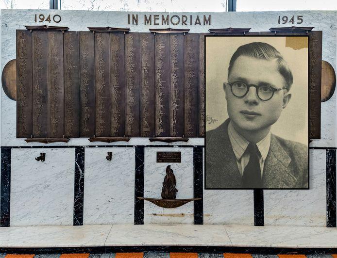 Monument voor gevallen KNVB-bondsleden op de KNVB Campus in Zeist met een inzet van Alef Arendsen uit Ermelo.