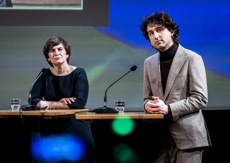 Lilianne Ploumen (PvdA) en Jesse Klaver (GroenLinks) eerder tijdens het COC's Regenboog verkiezingsdebat.  Beeld ANP