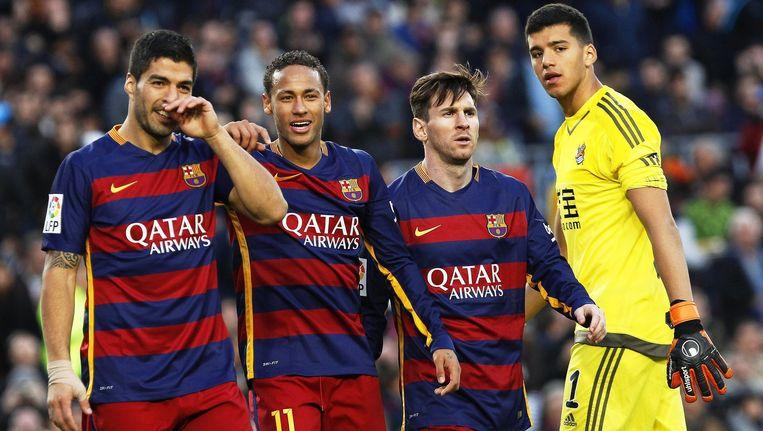 De aanvalslinie van Barcelona: Suarez, Neymar en Messi. Beeld epa