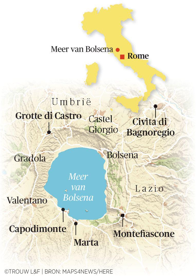 Het meer van Bolsena op de kaart.  Beeld Trouw