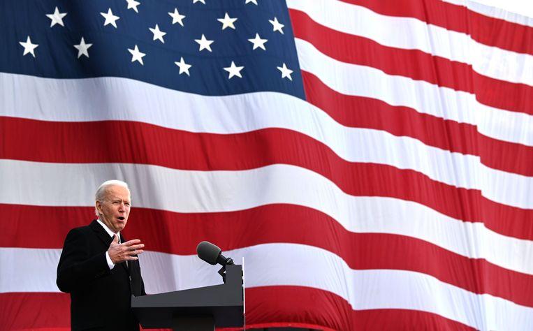 President Biden hield woensdag kort voor zijn vertrek naar Washington nog een toespraak op New Castle Airport in Delaware. Beeld AFP
