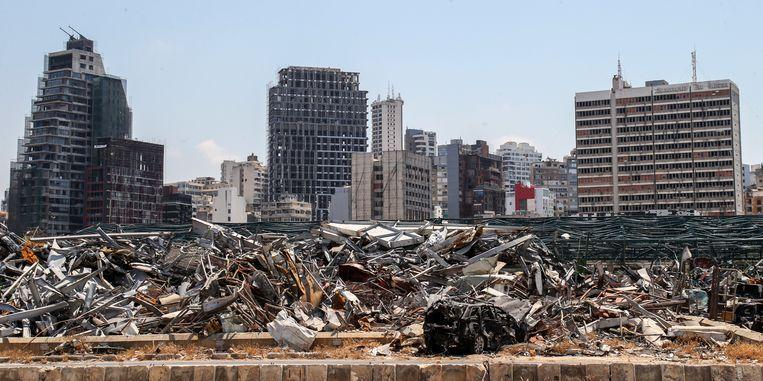 Ravage na de explosie in Beirut, precies een jaar geleden.  Beeld EPA