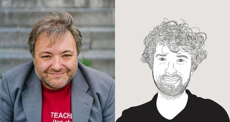 Pedagoog Pedro De Bruyckere en De Morgen-journalist Pieter Gordts. Beeld Wouter Van Vooren