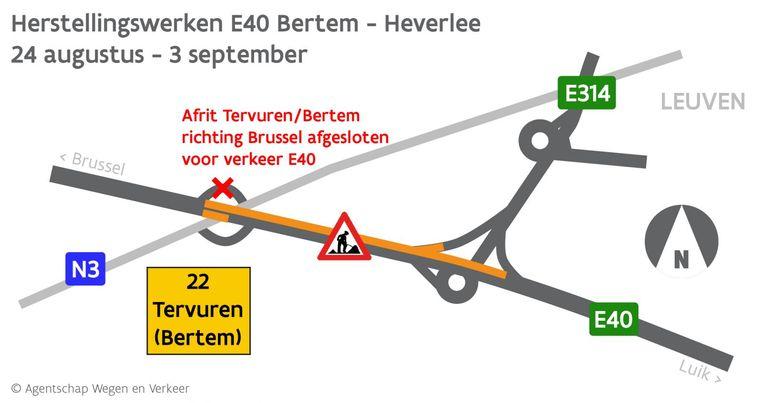 De werken op de E40 zullen voor heel wat hinder zorgen. Beeld Wegen en Verkeer
