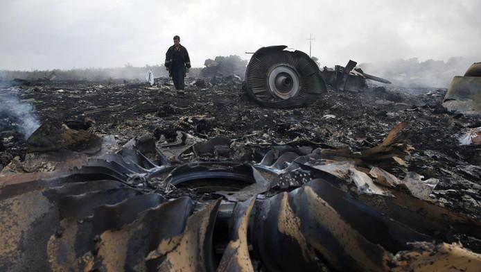 Brokstukken van de MH17.