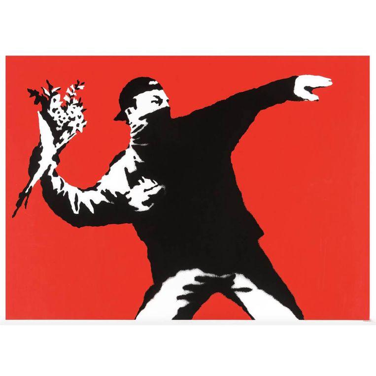 Banksy's kunstwerk Love is in the Air. Beeld