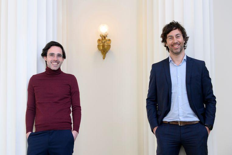 Voormalig Groen-fractieleider Kristof Calvo en zijn opvolger Wouter De Vriendt Beeld Photo News
