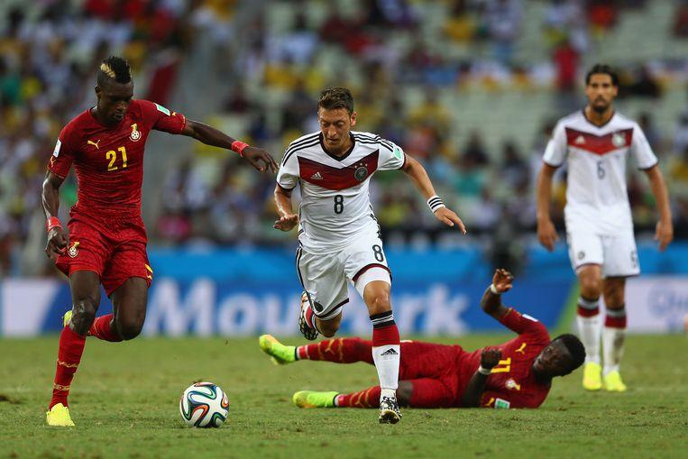 Ghana speelde 2-2 gelijk tegen Duitsland, maar haalde de achtste finales niet. Beeld getty