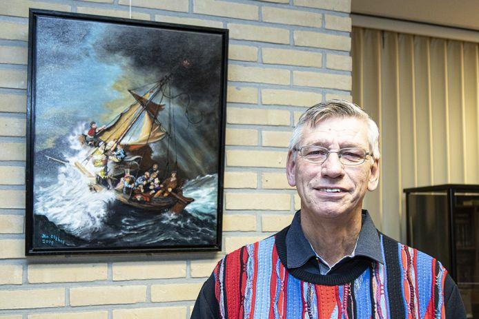 Jan Olthof exposeert schilderijen van zijn hand in de bibliotheek van Vriezenveen.