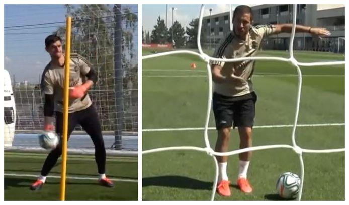 Courtois et Hazard durant un entraînement du Real.