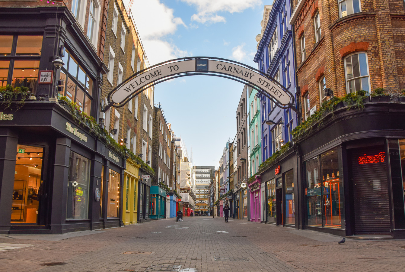 Een lege Carnaby Street in Londen.