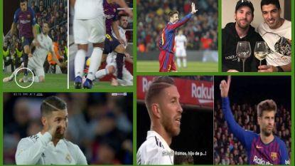 Dit zag je nog niet tijdens en na Barça-Real: het klasrijke gebaar van Piqué, de stamp van Suarez en de 'tranen' van Sergio Ramos