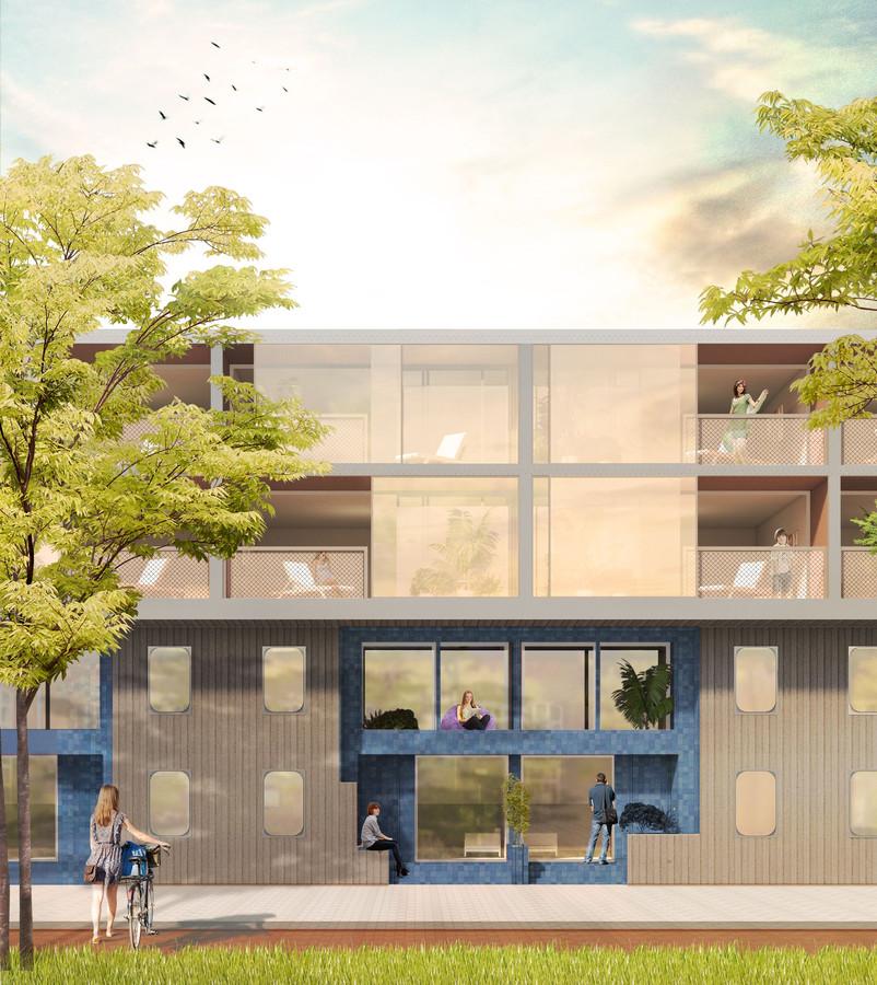 Vooral in de laagbouw aan de Burgemeester Brokxlaan doet het nieuwe complex enigszins denken aan 'het blauwe gebouw'.