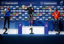 Het podium, met van links naar rechts: Pavel Koelizjnikov, Laurent Dubreuil en Dai Dai N'tab.