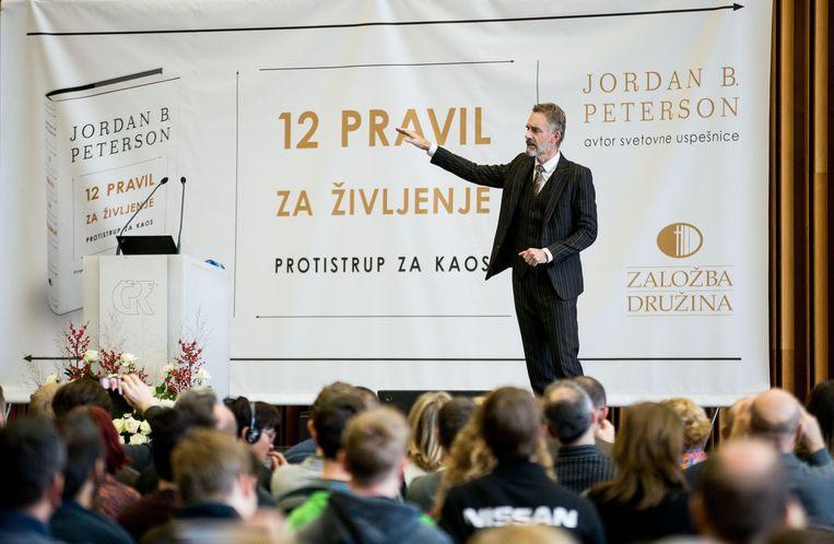 Peterson bij een boekpresentatie in het Slovaakse Ljubljana, 2018 Beeld BELGAIMAGE