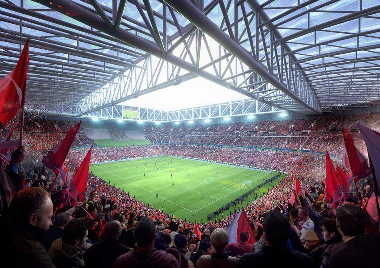 Artist impression van Feyenoord City: het nieuwe stadion dat op de oever van de Nieuwe Maas in Rotterdam moet verrijzen.  Beeld ANP