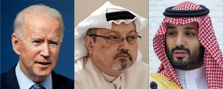 Joe Biden, de vermoorde journalist Jamal Khashoggi; en de Saudische kroonprins Mohammed bin Salman (vlnr). Beeld AFP