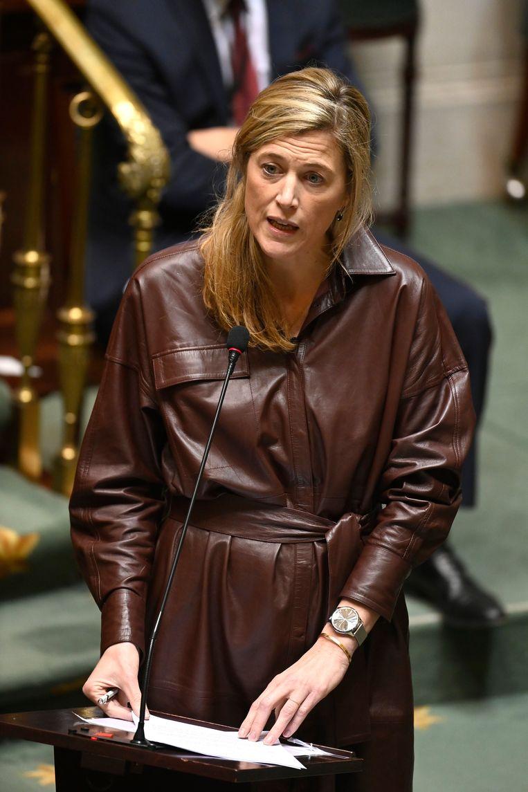 Minister van Binnenlandse Zaken Annelies Verlinden (CD&V) vandaag in de Kamer. Beeld Photo News