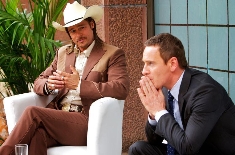 Brad Pitt (links) en Michael Fassbender in 'The Counselor'. Beeld AP