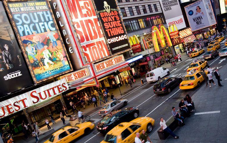 Reclameborden voor Broadwaymusicals op Times Square (archieffoto). Beeld ANP XTRA
