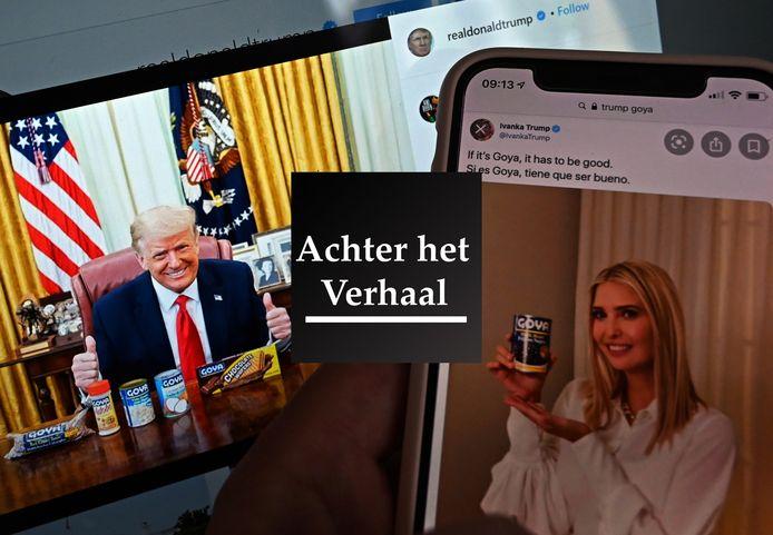 Donald Trump en zijn dochter Ivanka prijzen Goya-bonen aan op social media.