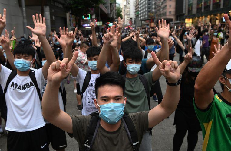Demonstratie tegen de Nationale Veiligheidswet in Hongkong.  Beeld Foto EPA