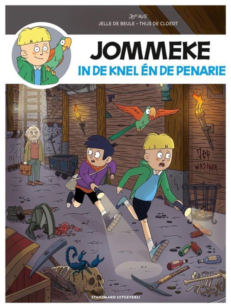 Jelle De Beule en Thijs De Cloedt, 'Jommeke in de knel én de penarie', Ballon De strip verschijnt op 7 april, maar zit volgende week al in hardcover voor 9,95 euro extra bij Humo. Beeld Humo