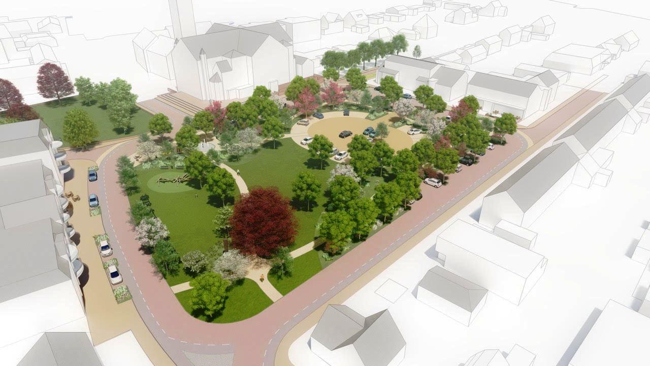 Het schetsontwerp van het nieuwe Willem-Alexanderplein in Teteringen, zoals de werkgroep van bewoners dat afgelopen vorig jaar heeft gepresenteerd.