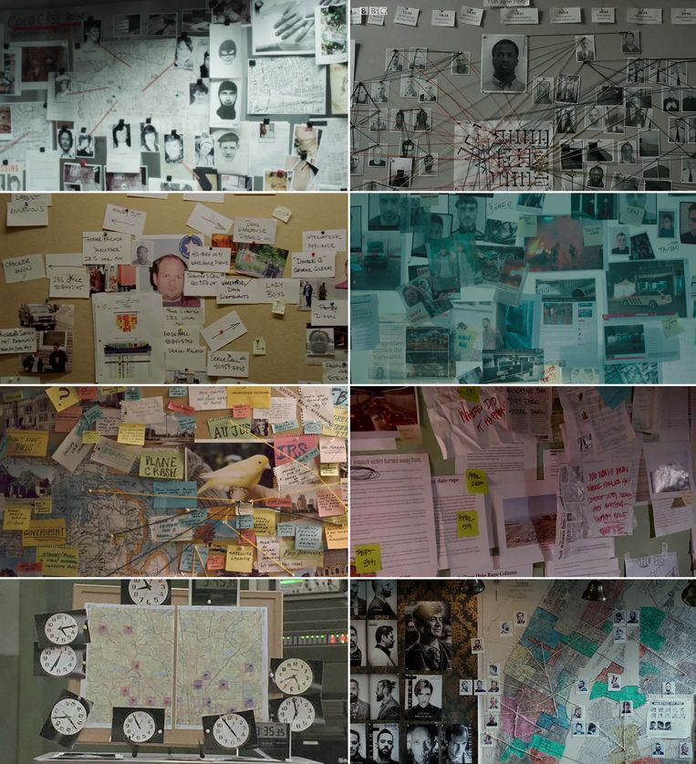 Met de klok mee vanaf linksboven: Luther, Undercover, Mocro Maffia, Dexter, John Wick, The Wire, Bad Girls en nogmaals The Wire.  Beeld