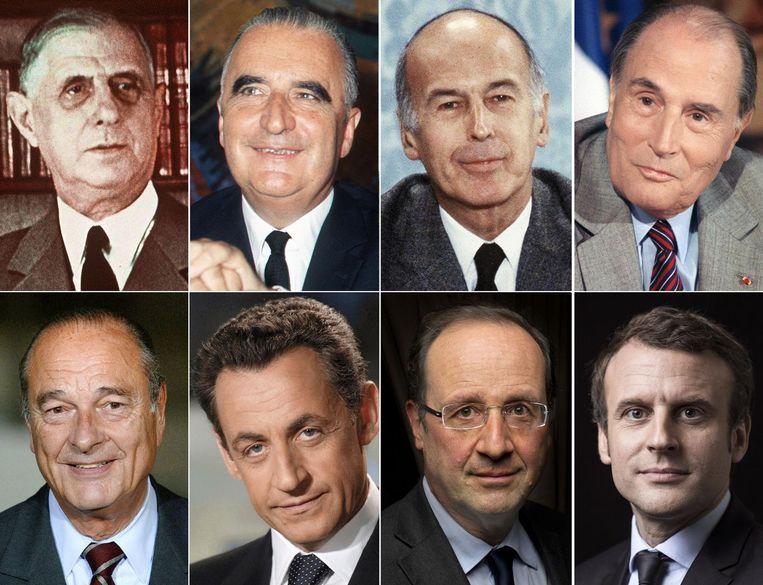 Huidig president Emmanuel Macron (tweede rij, rechts) en zijn zeven voorgangers in de chronologische volgorde qua ambtstermijn: Charles de Gaulle (1959-1969), Georges Pompidou (1969-1974), Valéry Giscard d'Estaing (1974-1981), François Mitterrand (1981-1995), Jacques Chirac (1995-2007), Nicolas Sarkozy (2007-2012) en Francois Hollande (2012-2017). Beeld afp